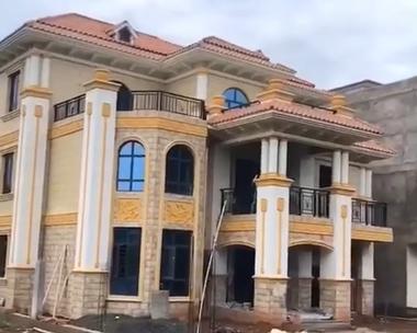 AT1817三层简欧式复式私人豪华别墅施工实建案例