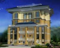 674三层连排经典别墅建筑图纸19m×17m