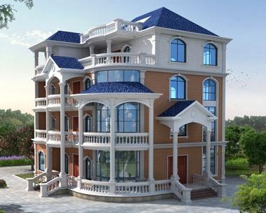AT1753欧式豪华四层复式大型别墅设计施工图纸17.1mx16.2m