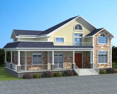 AT1761一层半带走廊复式农村小别墅设计图纸带外观效果图17.5X11米