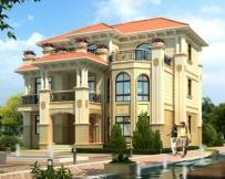 2020年新款AT1817三层楼带屋顶花园复式客厅豪华别墅图纸 14mX13m