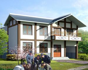AT1869乡村新中式风格二层带内院住宅设计施工图纸12.6mX14m
