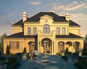AT1858二层带地下室法式风格豪宅别墅设计施工图纸19.6mX18.4m